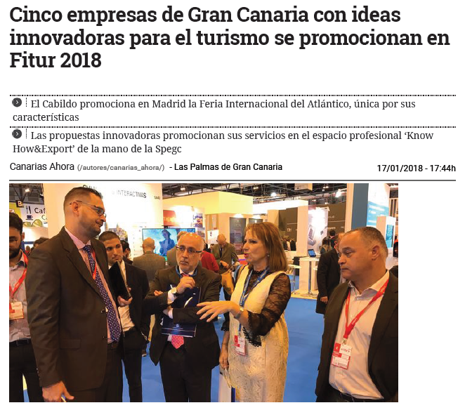 Five Gran Canarian companies with innovative ideas for tourism are promoted at Fitur 2018 – CanariasAhora