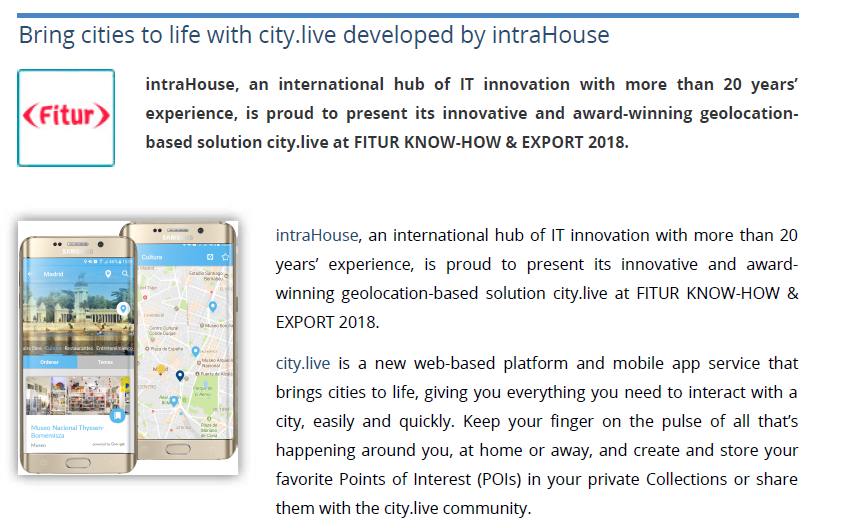 Bring cities to life with city.live developed by intraHouse – FITUR